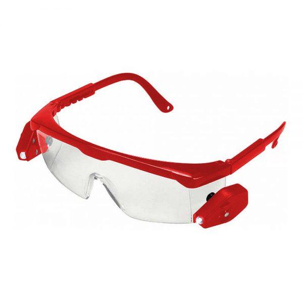 Γυαλιά Προστασίας με Κόκκινο Βραχίονα Διάφανα με LED Φως
